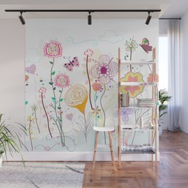 Colorful hand drawn happy wildflower illustration Wall Mural