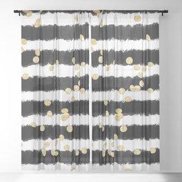 Modern black watercolor stripes chic gold confetti Sheer Curtain