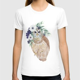 Owl with flower crown T-shirt
