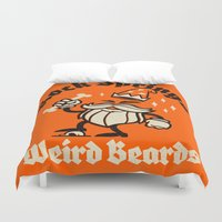 weird Duvet Covers featuring Weird Beards by Gimetzco's Damaged Goods