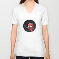 chibi V-neck T-shirts featuring Chibi Spider by Nozubozu