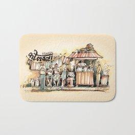 Kolkata India Sketch in Watercolor | City View | Street Food Stall | Calcutta West Bengal Bath Mat