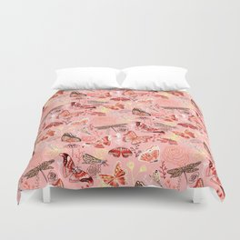 Dragonflies, Butterflies and Moths With Plants on Flamingo Pink Duvet Cover