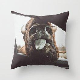 Bison Wassup Throw Pillow