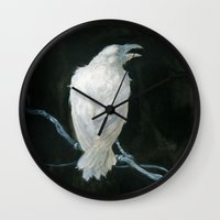 raven Wall Clocks featuring Raven by Jana Heidersdorf Illustration