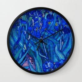 Van Gogh Irises in Indigo Wall Clock