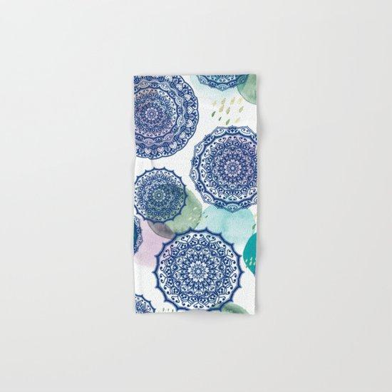 Fall Love Mandala in Blue Hand & Bath Towel