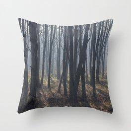 Fog Autumn forest Throw Pillow