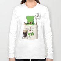 irish Long Sleeve T-shirts featuring Saint Patric's cat, Cat cartoon characters, Irish Cat cartoon, ZWD004 by ZeeWillDraw