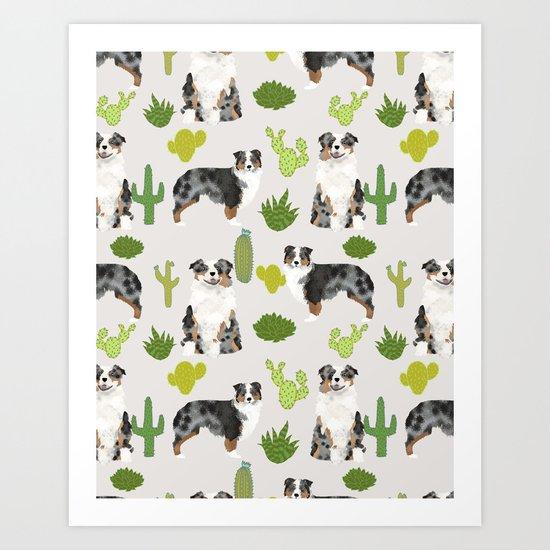 Australian Shepherd owners dog breed cute herding dogs aussie dogs animal pet portrait cactus Art Print