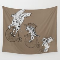 steam punk Wall Tapestries featuring Steam Punk Pets by Rebecca Pocai