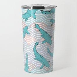 Koi carp. Blue fish. Asian wave circle background Travel Mug