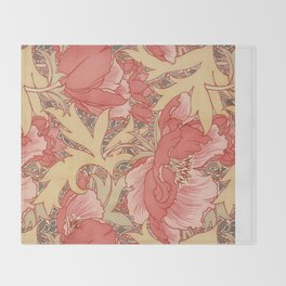 William Morris Poppies Floral Art Nouveau Pattern Throw Blanket