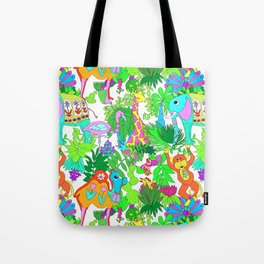 60's Groovy Zoo in White Tote Bag
