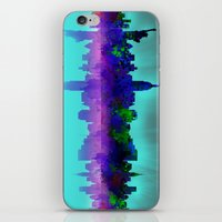 new york skyline iPhone & iPod Skins featuring New York skyline by Bekim ART
