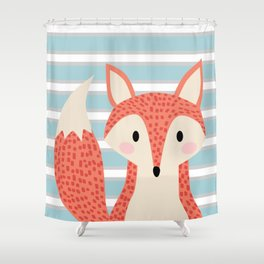 Cute fox illustration with stripes blue white and orange Shower Curtain