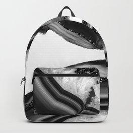 Gray Black White Agate with Black Silver Glitter #1 #gem #decor #art #society6 Backpack