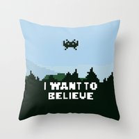 i want to believe Throw Pillows featuring i want to believe. by dann matthews