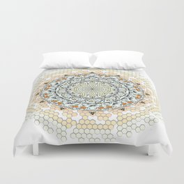 Overlapping Bee Mandala (Color) Duvet Cover