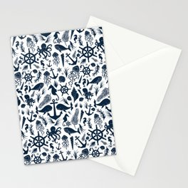 Nautical Silhouettes (Navy Blue on White) Stationery Cards