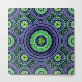 Back to 70's, blue & green Metal Print