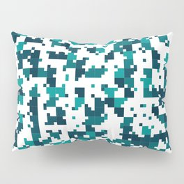 Take me to the bottom of the ocean - Random Pixel Pattern in shades of blue green Pillow Sham