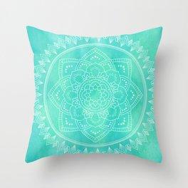 MANDALA Turquoise Watercolor BOHOCHIC Throw Pillow