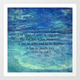 Inspirational ocean sea quote Art Print