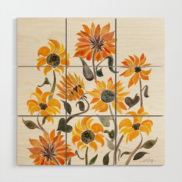 Sunflower Watercolor – Yellow & Black Palette Wood Wall Art