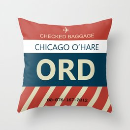 Chicago O'hare Baggage tag Throw Pillow