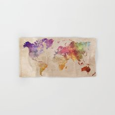 World Map Watercolor Hand & Bath Towel