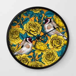 Yellow rose flowers and goldfinch birds Wall Clock