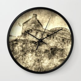 Edinburgh Castle Vintage Wall Clock