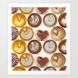 Latte Polka Dots in White Art Print