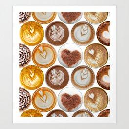 Latte Polka Dots in White Art Print
