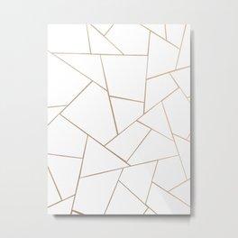 Rose Gold White Geometric Glam #1 #geo #decor #art #society6 Metal Print
