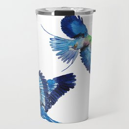 Watercolor blue birds of paradise Travel Mug