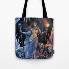 Two of Wands - Woman & Wolves Tote Bag