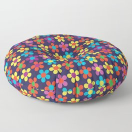 Bright Multi Colored Small Daisies Floor Pillow