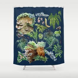 Fungi & Ferns Blue Shower Curtain