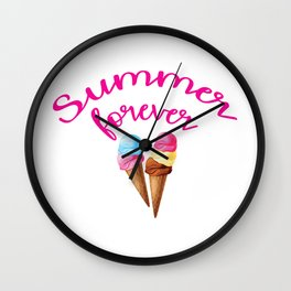 Summer forever with icecream Wall Clock