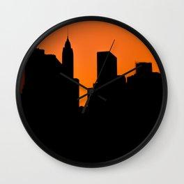 Lower Manhattan Silhouette Wall Clock