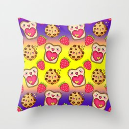 Cute funny sweet adorable happy Kawaii toast with raspberry jam and butter, chocolate chip cookies, red ripe summer strawberries cartoon fantasy yellow purple pattern design Throw Pillow