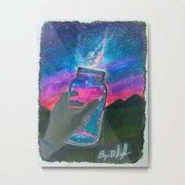 'Slightly Ajar' Hand-Drawn Original Art - Milky Way Night Sky - by Dark Mountain Arts Metal Print
