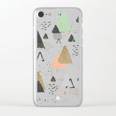 Triangles & textures watercolor Clear iPhone Case