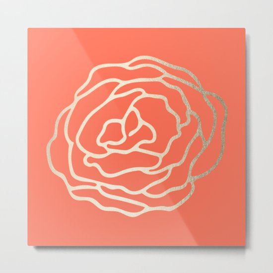Rose White Gold Sands on Deep Coral Metal Print