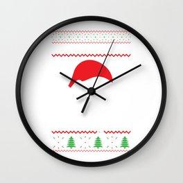 Slothy Christmas Merry Santa Hat Snowflakes Gift Wall Clock