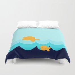Beach Series Aqua- Gold Fish Animals in the deep See Duvet Cover