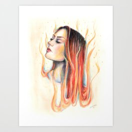 """Blaze"" Fire spirit Watercolour portrait Art Print"