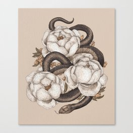 Snake and Peonies Canvas Print